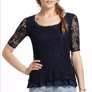 Anthropologie Deletta Navy Ruffled Lace Peplum Top